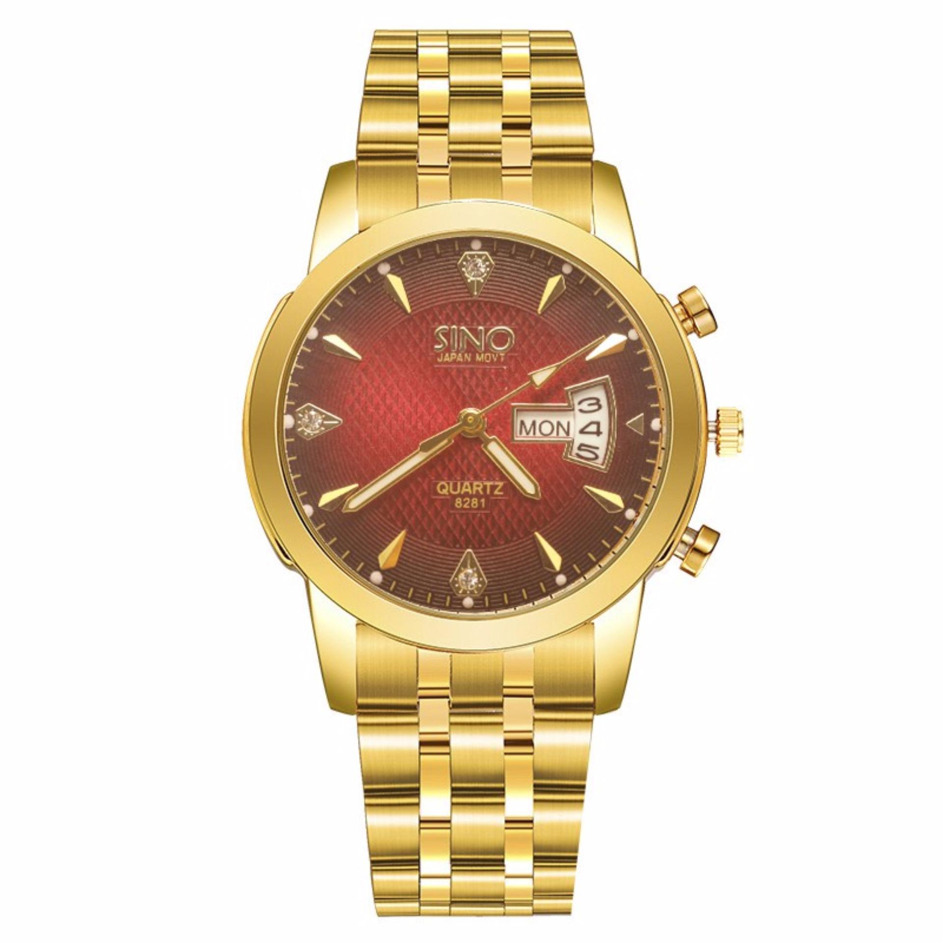 Đồng hồ nam dây thép không gỉ cao cấp SINO Japan 8281 chạy 2 lịch – 5 Màu + Tặng kèm pin đồng hồ – Đỏ