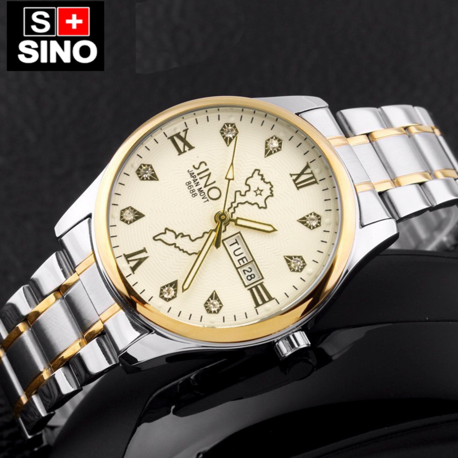 Đồng hồ nam bản đồ cao cấp SINO Japan 8688 (Mặt trắng)