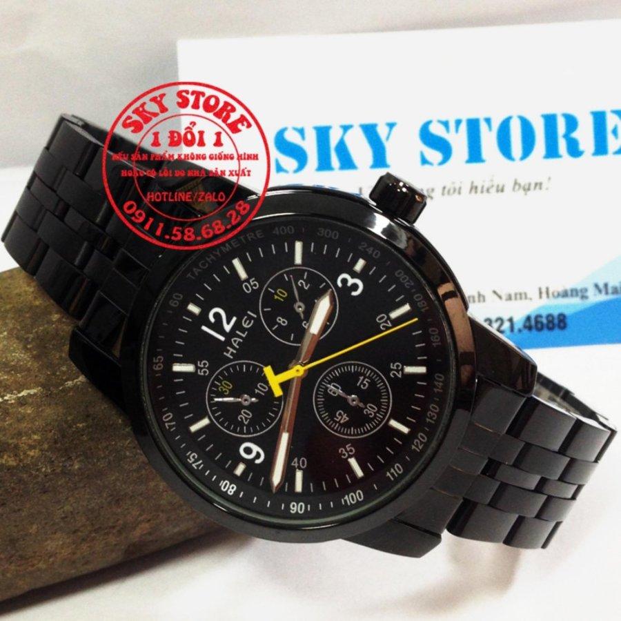 Đồng hồ nam dây thép không gỉ cao cấp thương hiệu HALEI 3010M (Full đen)