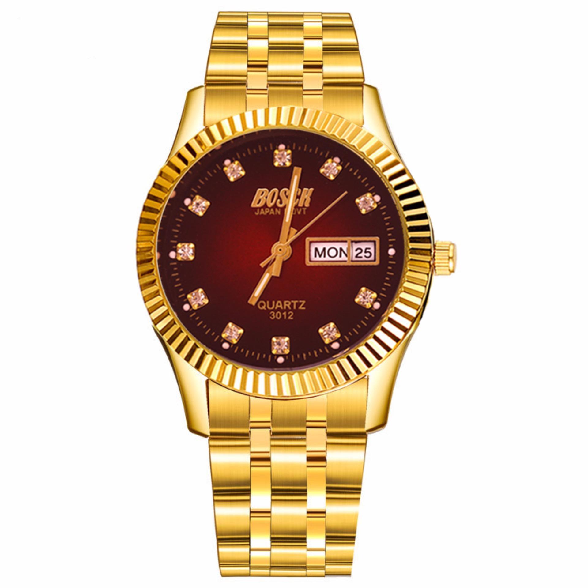 Vì sao mua Đồng hồ nam dây thép không gỉ mạ vàng Bosck Japan Movt SL1221 Đỏ