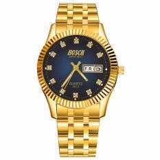 Đồng hồ nam dây thép không gỉ mạ vàng Bosck Japan Movt SL2212 (blue)