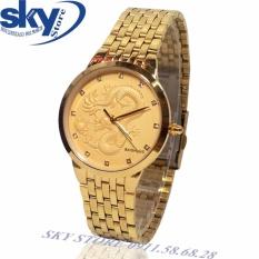 Đồng hồ nam dây thép không gỉ mặt chạm rồng nổi BAISHUNS 1988 (VÀNG)