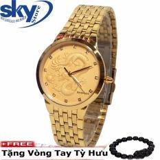 Đồng hồ nam dây thép không gỉ mặt chạm rồng nổi BAISHUNS 8899 (VÀNG) + Tặng vòng tay tỳ hưu may mắn phát tài
