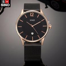 Đồng hồ nam dây thép không gỉ mặt mỏng cao cấp Sino Japan Movt SI6147 – màu vàng