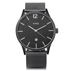 Giá Đồng hồ nam dây thép không gỉ mặt mỏng Sino Japan Movt S6147 Đen- Kim bạc  Slim1991