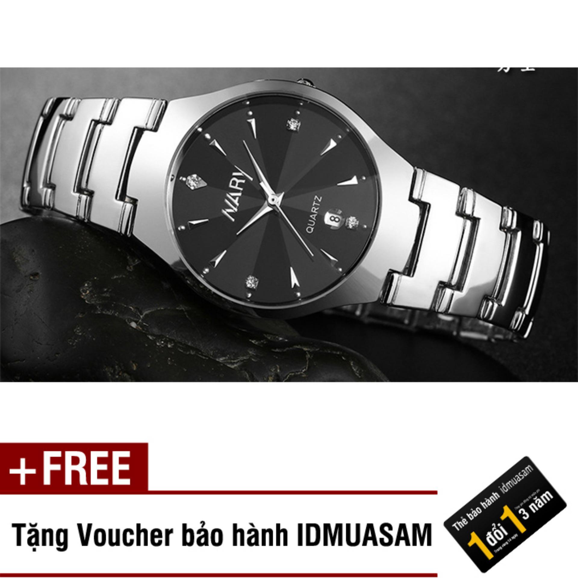 Tư vấn mua Đồng hồ nam dây thép không gỉ Nary 002A (Đen) + Tặng kèm voucher bảo hành IDMUASAM