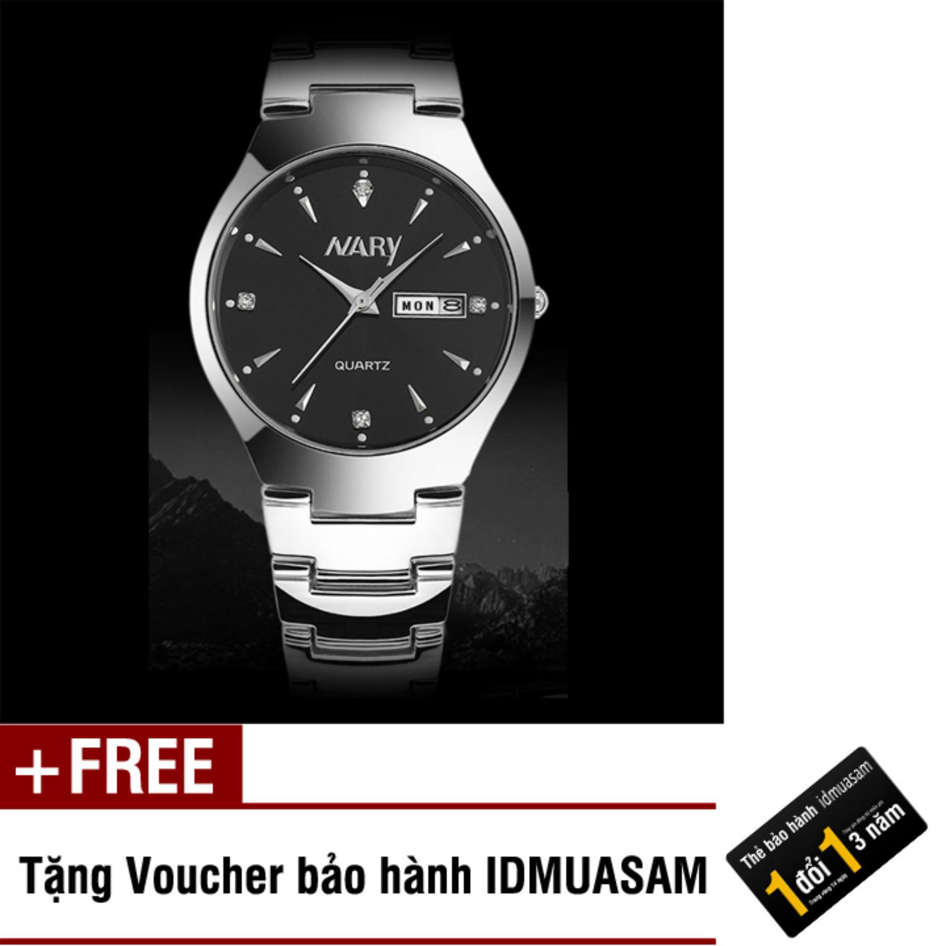 Đồng hồ nam dây thép không gỉ Nary 7511 (Mặt đen) + Tặng kèm voucher bảo hành IDMUASAM