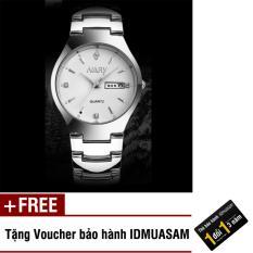 Đồng hồ nam dây thép không gỉ Nary 7512 (Mặt trắng) + Tặng kèm voucher bảo hành IDMUASAM