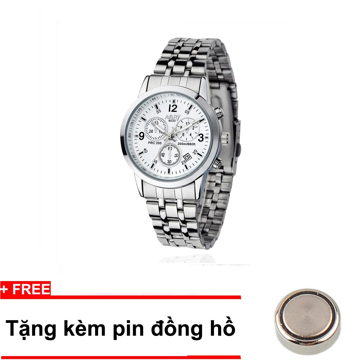 Đồng hồ nam dây thép không gỉ Nary NR6033B (Đen) + Tặng 1 pin đồng hồ