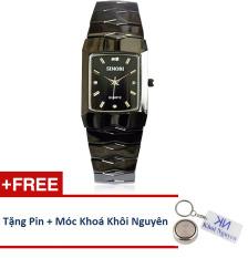Đồng hồ nam dây thép không gỉ Sinobi 91KN48 (Đen) + Tặng pin và móc khoá KN.