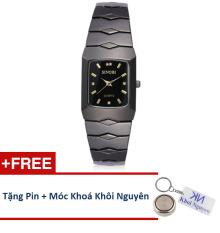 Đồng hồ nam dây thép không gỉ Sinobi 91KN48 (Vạch Vàng) + Tặng pin và móc khoá KN.