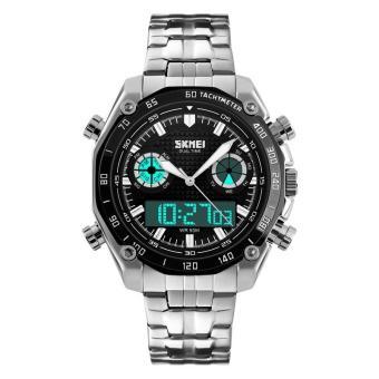 Đồng hồ nam dây thép không gỉ SKMEI 1204 (Bạc mặt đen)