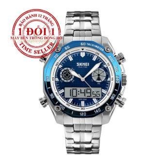 Đồng hồ nam dây thép không gỉ SKMEI 1204 (Trắng xanh)