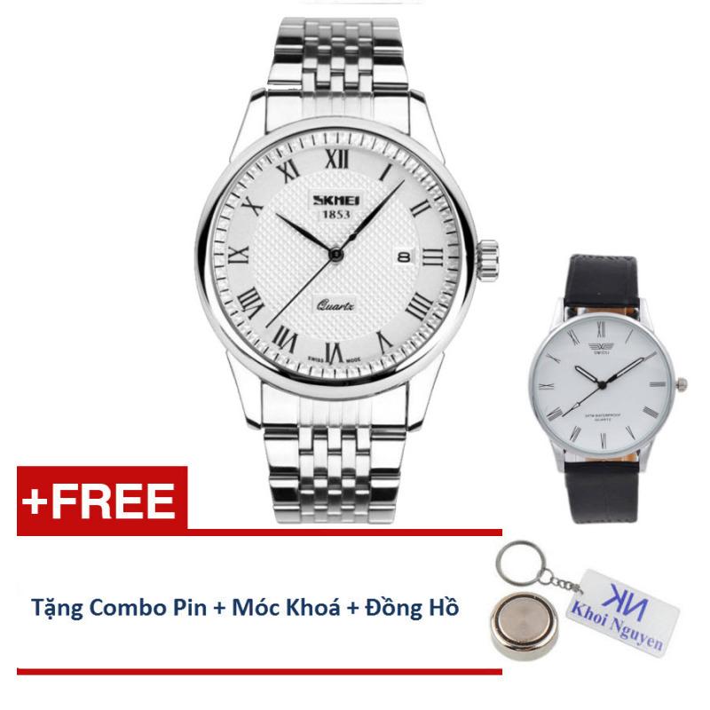 Nơi bán Đồng hồ nam dây thép không gỉ Skmei 90KCN58 (Trắng) + Tặng Đồng hồ nam Swidu; pin; móc khoá.