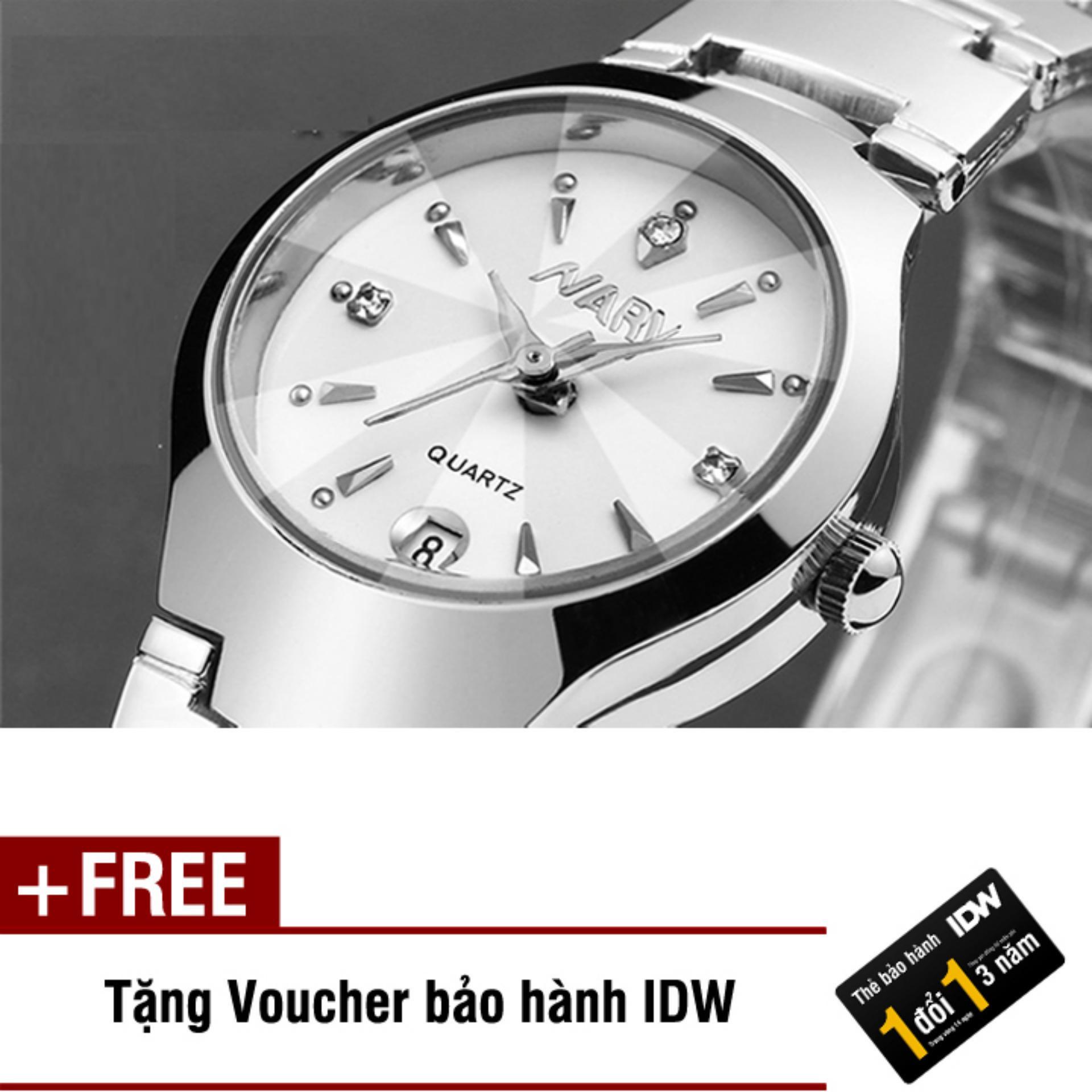 Đồng hồ nam dây thép không rỉ cao cấp Nary IDW 2563 (Mặt trắng) + Tặng kèm voucher bảo hành IDW