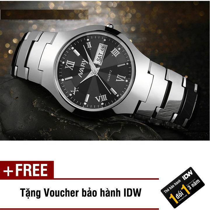 Đồng hồ nam dây thép không rỉ cao cấp Nary IDW S0151 (Dây trắng mặt đen) + Tặng kèm voucher bảo hành IDW