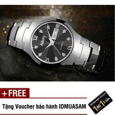 Đồng hồ nam dây thép không rỉ cao cấp Nary S0131 (Dây trắng mặt đen) + Tặng kèm voucher bảo hành IDMUASAM