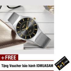Đồng hồ nam dây thép không rỉ cao cấp Nary S0431 (Mặt đen kim vàng) + Tặng kèm voucher bảo hành IDMUASAM
