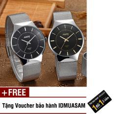 Đồng hồ nam dây thép không rỉ cao cấp Nary S0432 (Mặt đen kim trắng) + Tặng kèm voucher bảo hành IDMUASAM