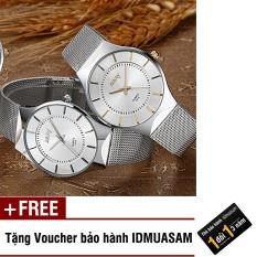 Đồng hồ nam dây thép không rỉ cao cấp Nary S0433 (Mặt trắng kim vàng) + Tặng kèm voucher bảo hành IDMUASAM