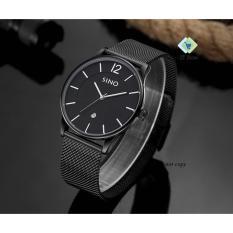Đồng hồ nam dây thép lưới SINO 7155 ST-S7155 (đen kim bạc)