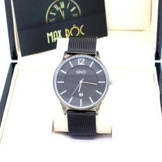 Đồng hồ nam dây thép lưới SINO MDH-8155 (đen kim bạc)