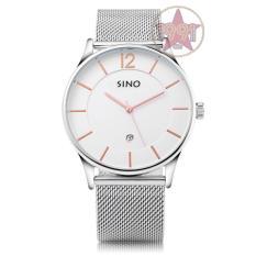 Đồng hồ nam dây thép lưới thời trang Sino SI6147 trắng