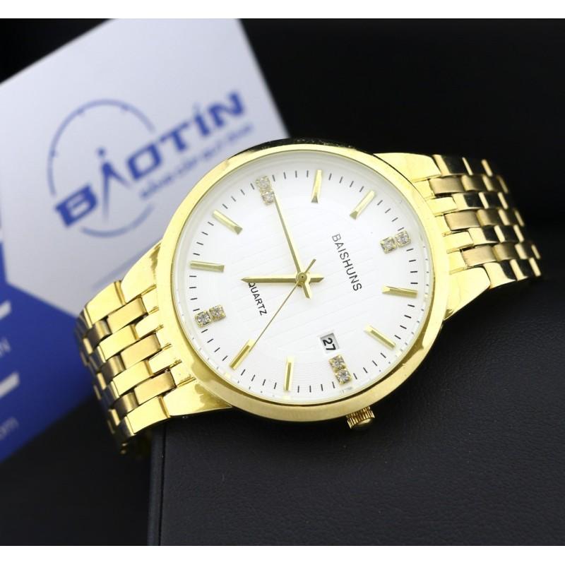 Nơi bán Đồng hồ nam dây thép mạ Vàng BAISHUNS 4586 (Trắng)