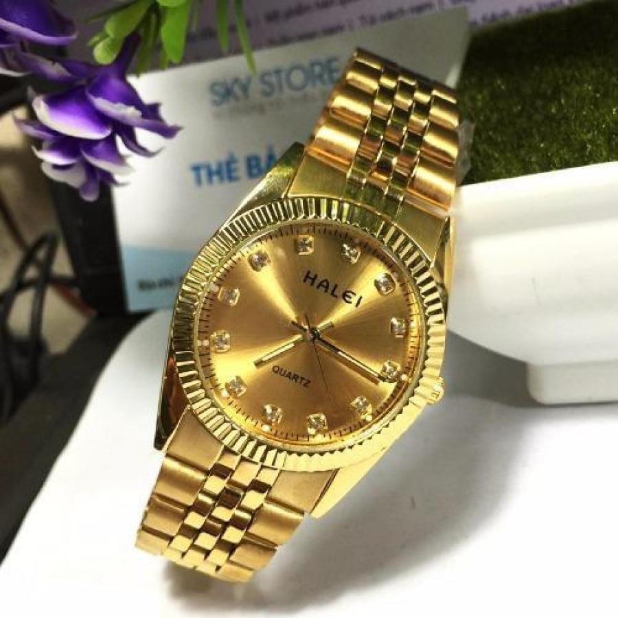 Đồng hồ Nam dây thép mạ vàng chống nước HALEI 356M2
