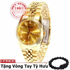 Đồng hồ Nam dây thép mạ vàng chống nước HALEI 356M3 + Tặng kèm vòng tay tỳ hưu