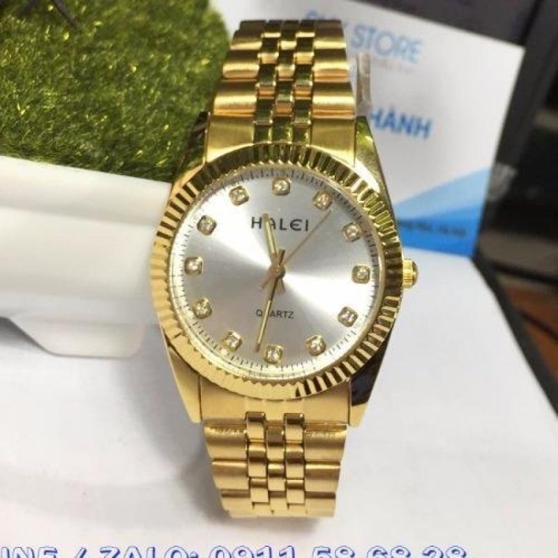 Đồng hồ Nam dây thép mạ vàng chống nước HALEI 356M6 bán chạy