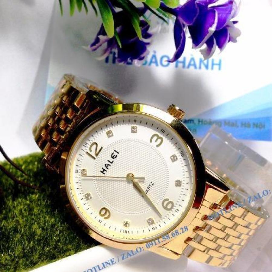 Đồng hồ nam Halei NHL168 mặt màu trắng cực men