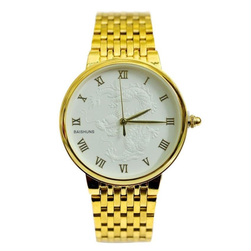 Chỗ nào bán Đồng hồ nam dây thép mạ vàng mặt rồng BAISHUNS BAS11002 (Mặt trắng)