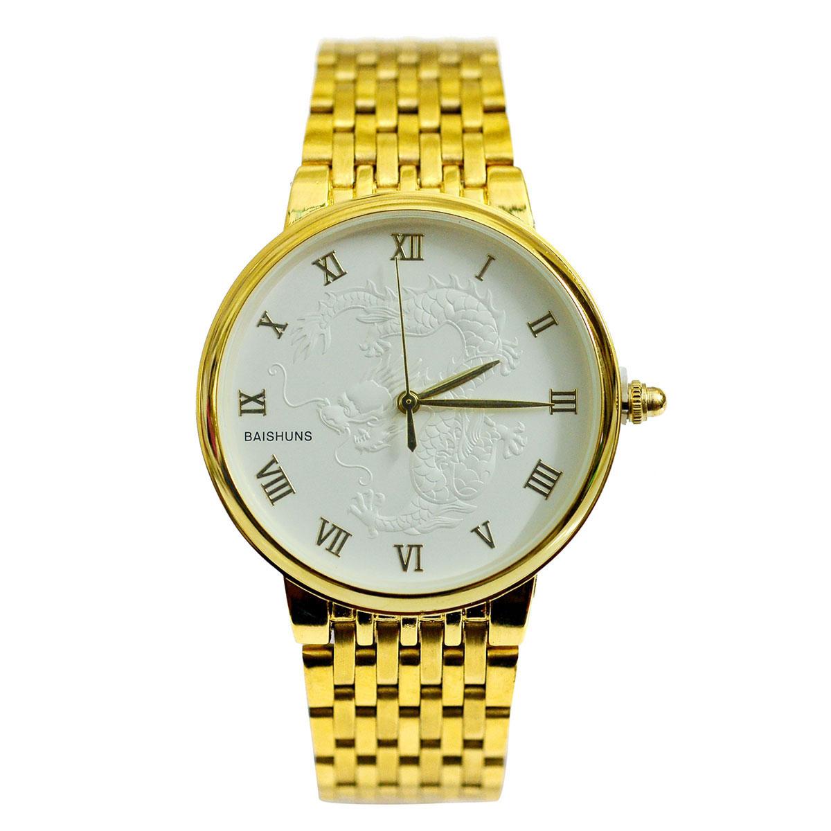 Đồng hồ nam dây thép mạ vàng mặt rồng BAISHUNS BAS11004 (Mặt trắng)