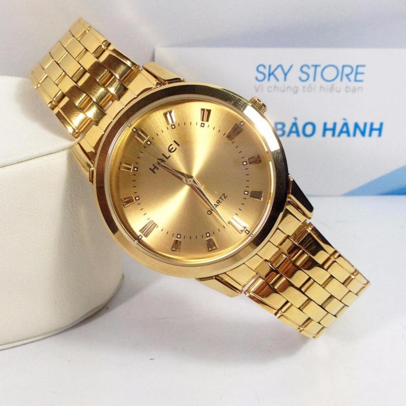 Nơi bán Đồng hồ nam dây thép mặt tròn không gỉ HALEI HA824W (Vàng)