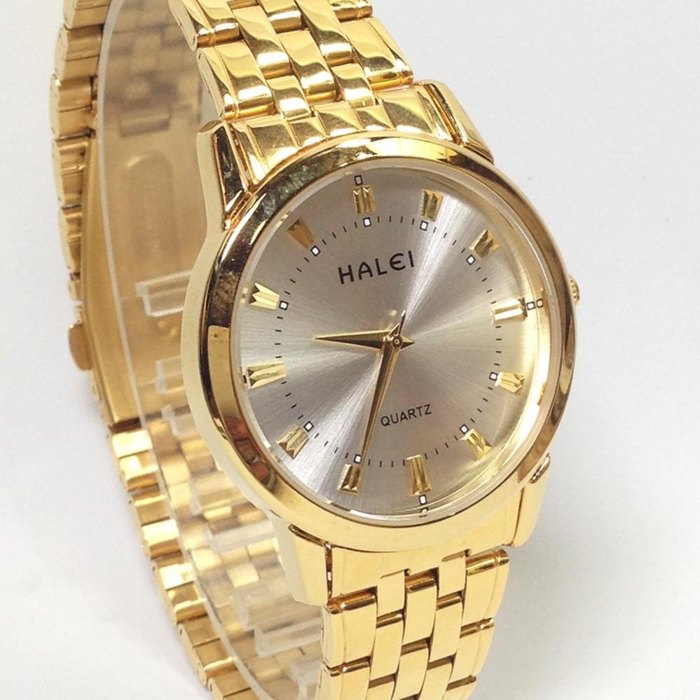 Đồng hồ nam dây thép mặt tròn không gỉ HALEI HA824W (Vàng)