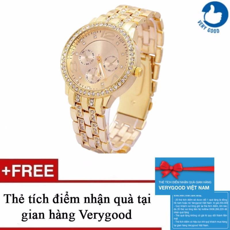 Nơi bán Đồng hồ nam dây thép nạm kim cương Geneva New 2016 + Tặng kèm 1 thẻ tích điểm nhận quà tại gian hàng Verygood