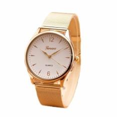 Đồng hồ nam dây thép nhuyễn Geneva Golden (Mặt Trắng, Dây Vàng) + Tặng Kèm Hộp