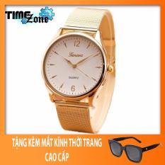 Đồng hồ nam 3H Fashion dây thép nhuyễn Geneva Golden (Mặt Trắng, Dây Vàng) + Tặng Kèm Mắt Kính Thời Trang