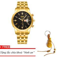 Đồng hồ nam dây thép SINO Japan(Mặt Đen) MDH-S8281, tặng lắc chìa khoá gỗ bình an