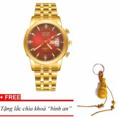 Đồng hồ nam dây thép SINO Japan(Mặt Đỏ) – MDH-S8281, tặng lắc chìa khoá gỗ bình an
