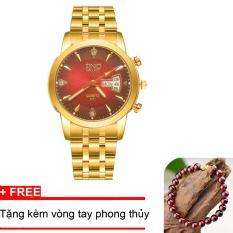 Đồng hồ nam dây thép SINO Japan(Mặt Đỏ) – TPO-S8281, tặng vòng tay phong thuỷ đá đỏ