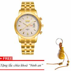 Đồng hồ nam dây thép SINO Japan(Mặt trắng) MDH-S8281, tặng lắc chìa khoá gỗ bình an