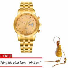 Đồng hồ nam dây thép SINO Japan(Mặt Vàng) MDH-S8281, tặng lắc chìa khoá gỗ bình an