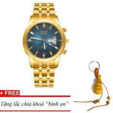 Đồng hồ nam dây thép SINO Japan(Mặt xanh) MDH-S8281, tặng lắc chìa khoá gỗ bình an