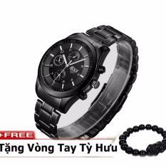 Đồng hồ nam dây thép thương hiệu BOSCK Japan movt 8251 + Tặng kèm vòng tay tỳ hưu may mắn phát tài