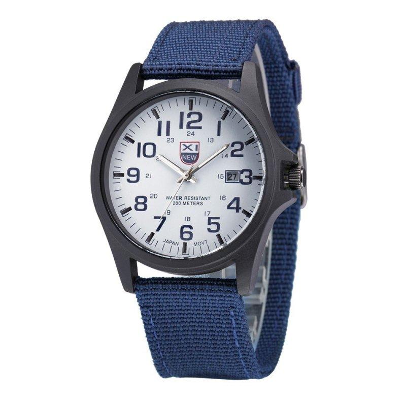 Nơi bán Đồng hồ nam dây vải cao cấp Xinew IDW 2374 (Dây xanh dương mặt trắng)