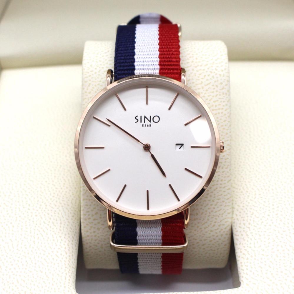 Cập Nhật Giá Đồng hồ nam dây vải dù 3 màu, lịch ngày Sino 8368 trẻ trung