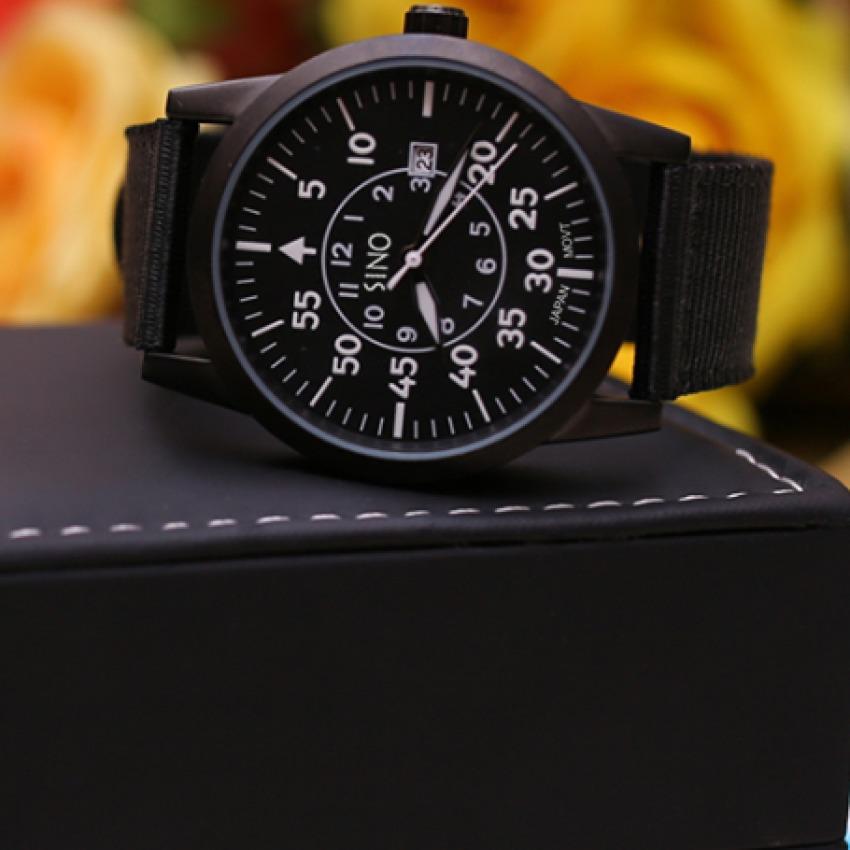 Đồng hồ nam dây vải nhập khẩu SINO JAPAN MOVT (Dây đen mặt đen) +Tặng kèm vòng tay thạch anh đen