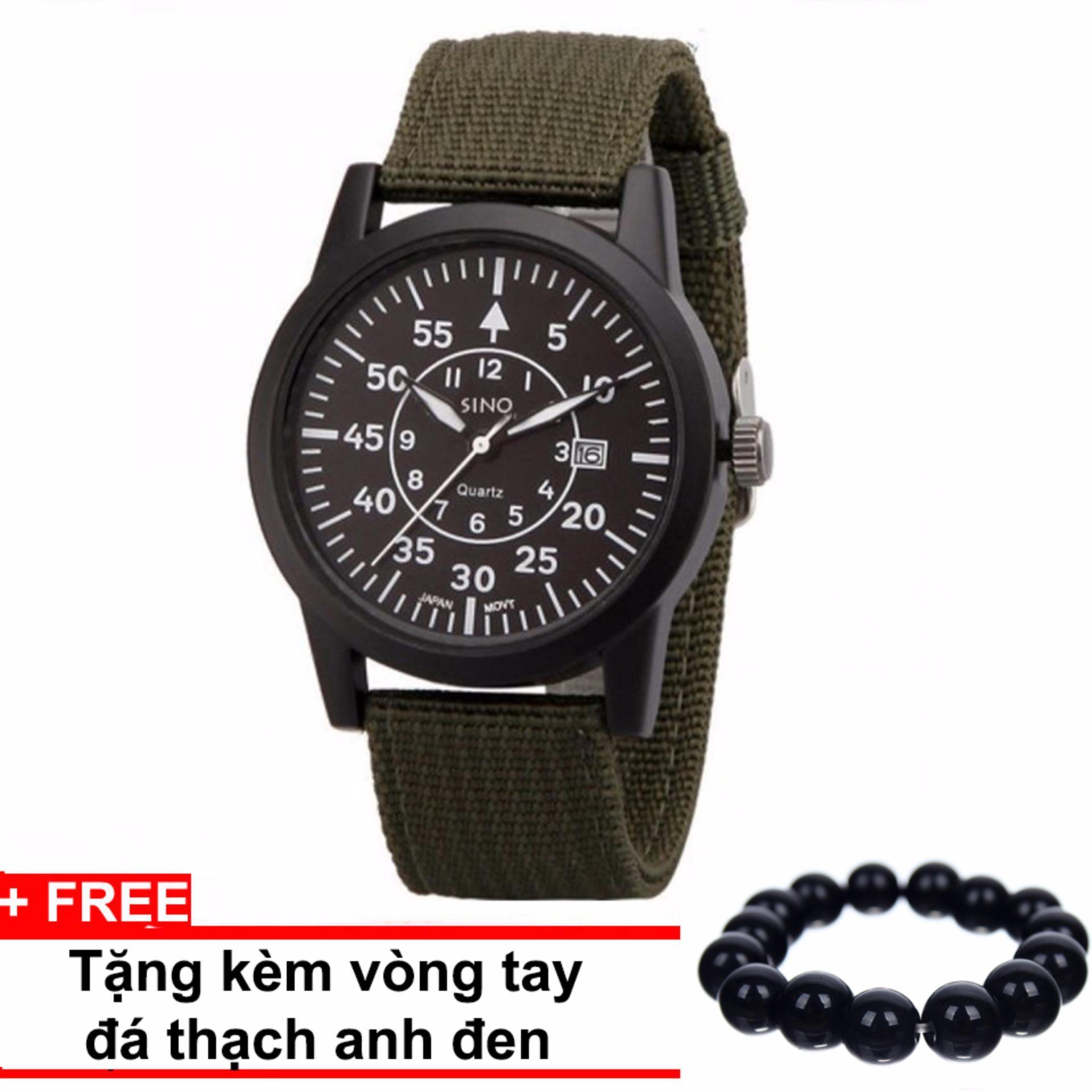 Đồng hồ nam dây vải quân đội SINO JAPAN MOVT 8868 (Dây xanh mặt đen) + Tặng kèm vòng tay thạch anh đen